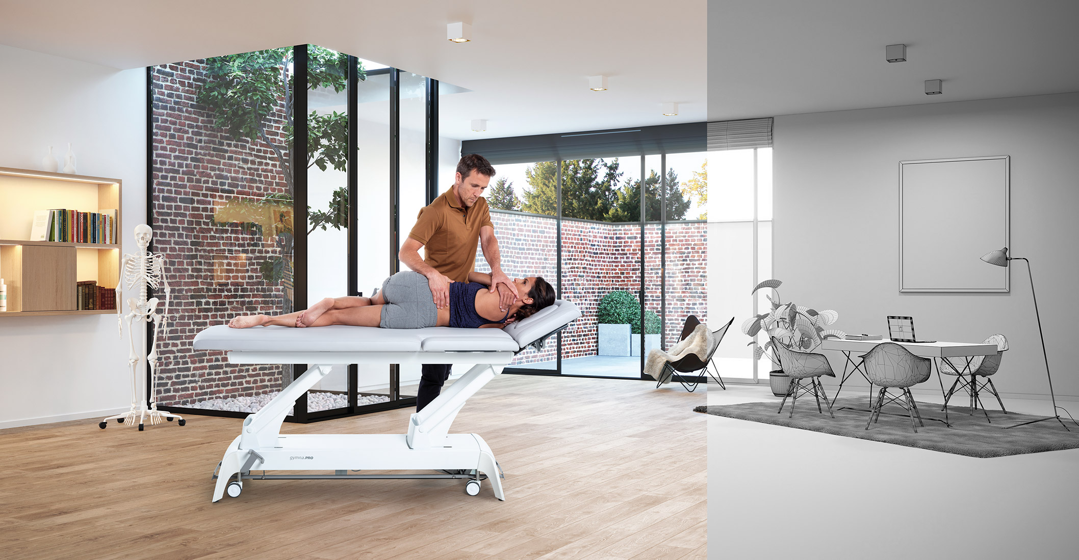 Physiotherapist caring for a patient on the treatment table