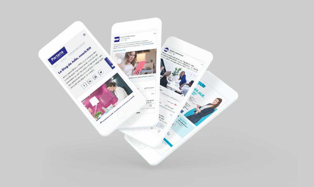 Smartphones showing content marketing
